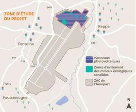 Une centrale photovoltaïque sur le site de l'aérop...