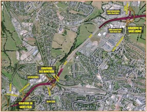 Projet d'aménagement des carrefours de Saint-Félix, les Moutiers et Saint-Marc sur les communes de Rodez et d'Onet-le-Château (Aveyron).