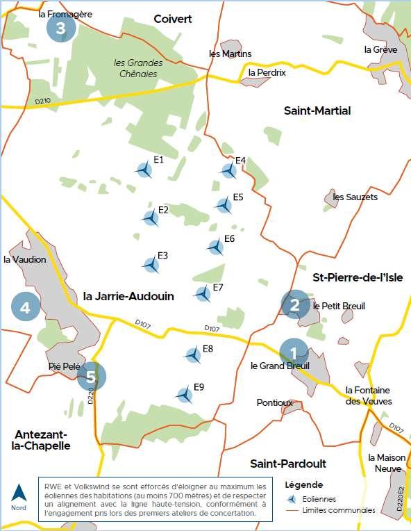 Projet d'implantation d'un parc éolien de neuf aérogénérateurs et deux postes de livraison sur la commune de LA JARRIE AUDOUIN