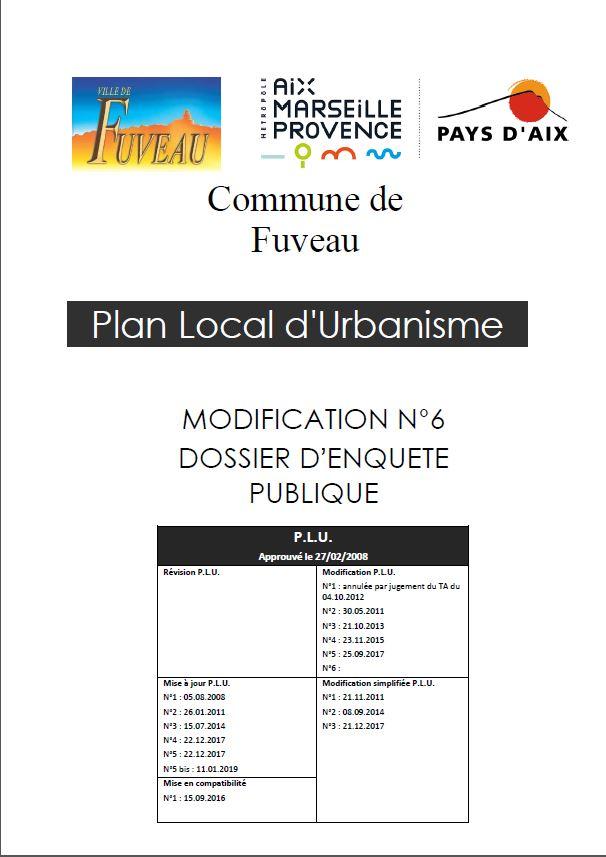 Projet de modification n°6 du PLU de la commune de Fuveau