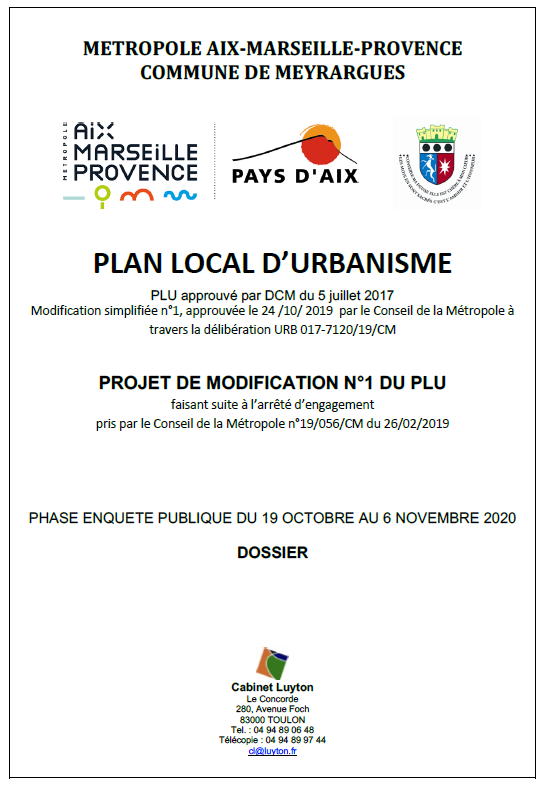 modification n°1 du PLU de la commune de Meyrargues