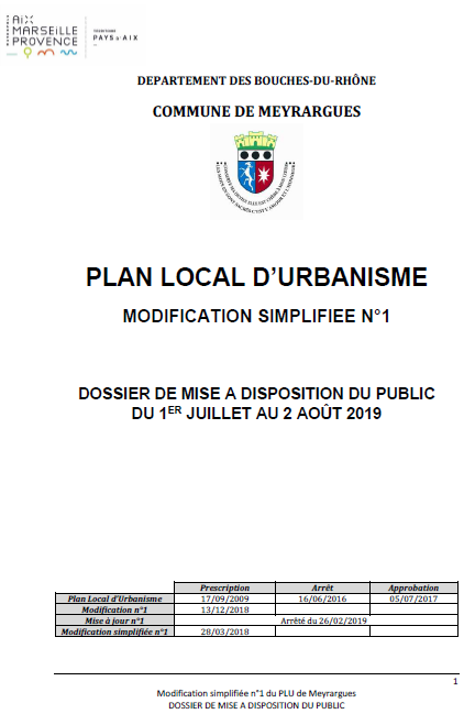 Modification simplifiée n°1 du PLU de la commune de Meyrargues
