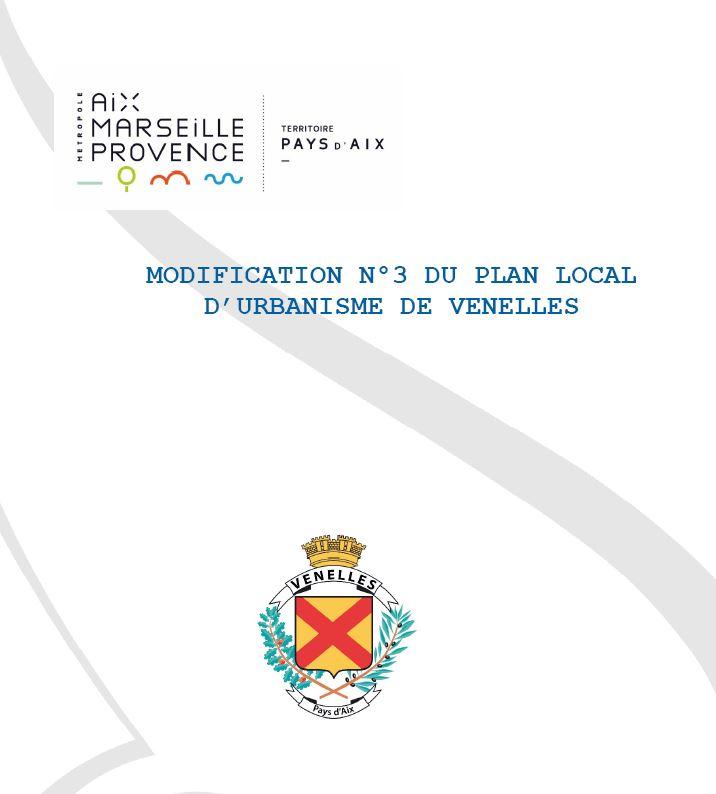 Projet de modification n°3 du PLU de la commune de Venelles